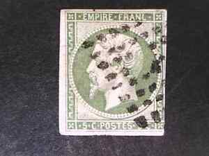 FRANCE 1858 5c green with 3 good margins.  FU