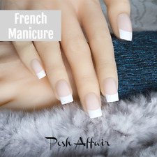 Medium *FRENCH MANICURE* Beige White Full Cover Press On 24 Nail Tips!