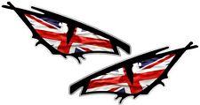 Pair Of EVIL Eyes Eye Union Jack British Flag car Helmet Drone Sticker 50x25mm