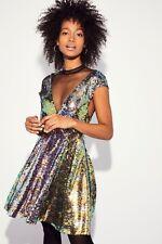Free People Dance Til Dawn Mini Dress, Green Sequin, Size Small, NEW, Ret $168