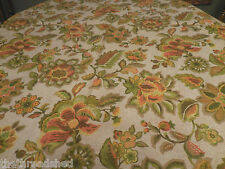 2 1/3Y Vintage Retro Heavy Linen Upholstery Fabric 54W Green Yellow Floral