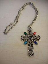 Vintage 1976 Avon Costume silver tone necklace pendant cabochon Romanesque Cross