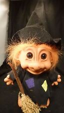 "Vintage BIG HALLOWEEN  WITCH TROLL 8"" RUSS Troll Doll Broomstick WICCAN"