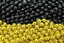 2 Dozen Mardi Gras Beads Gold/Black Disco Saints Steelers Party 24 Necklaces