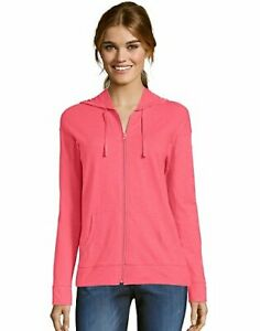 Hanes Women's Hoodie Lightweight Pockets Slub Jersey Full Zip Sweatshirt Casual
