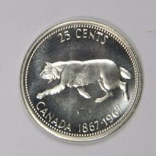 1867-1967 CANADA 25 CENTS - FLASHY LUSTER! SILVER - CLASSIC! INV#410