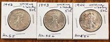 50C Walking Liberty Silver Half Dollar - 1942, 1943, 1944 AU Coin Lot