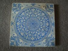 Blue & white symmetrical & floral antique design antique ceramic tile  21/66A