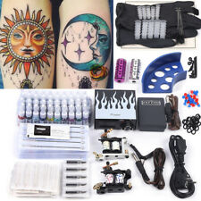 Tätowierung Komplett Tattoo Kit Set 2 Tattoomaschine Farben inks Netzgerät