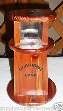 BANK~Pine~Wood~Lighthouse Design~Plastic Stopper~Handcrafted~FREE SHIP