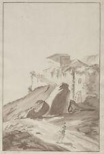 """""""PECHEUR EN CHEMIN"""" Dessin original encre sépia signé SG. août 1810 29x46cm"""