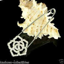 w Swarovski Crystal Cut Out ROSE Flower Floral Bridal Wedding Bouquet Pin Brooch