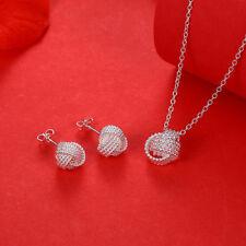 925Sterling Silver Accessories Women Jewelry Tennis Necklace Earrings Set GS812