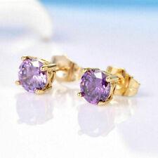 18K Yellow Gold Purple Amethyst Crystal 7mm Solitaire Stud Earrings   - 238