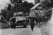 German POWs followed by Sherman Tank 4x6 WWII WW2 Photo 85