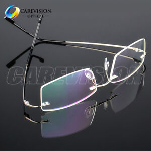 Flexible Memory Titanium-Alloy Unisex Rimless Eyeglasses Frames Optical Frame