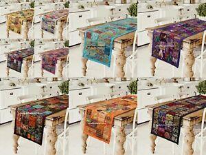 Indisch Handgemacht Bestickt Tabelle Läuferin Baumwolle Patchwork Bett Läuferin