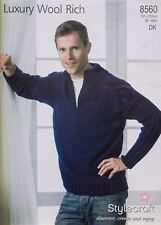 8ac0f19e236df Stylecraft Knitting Pattern 8560 Mens Raglan Rib Sweater Wool Rich DK 38-48
