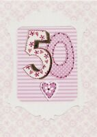 Lovely 50th Paper Salad Birthday Card Greetings Cards Blank Inside