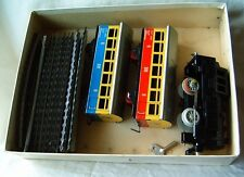 Old model tin toy wind-up train set + key DDR Germany rare