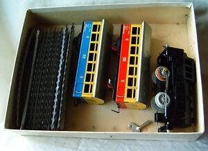 Old model tin toy wind-up train set + key DDR Germany rare