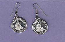 Earrings-Reproduction Coin Half Dollar Silver Tone Finish 1861 Brilliant Uncircu