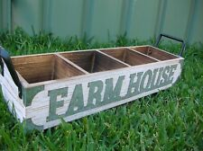 LARGE COUNTRY FARM HOUSE WOODEN 4 COMPARTMENT CADDY
