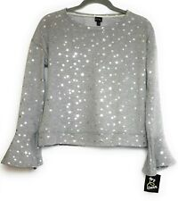 XS Art Class Girls Silver Star Grey Sweater Ruffle Sleeves New