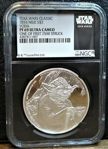 """Niue 2016 Star Wars NGC PF69 $2 Silver """"YODA"""" Early Releases with Mint Box & COA"""