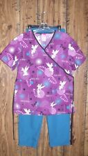 WOMEN'S SIZE XS DISNEY TINKER BELL SCRUB TOP & EXPO TEAL PANTS
