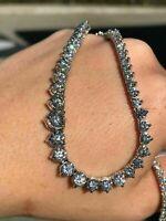"14k White Gold Over 35 Ctw Round Cut Diamond 18"" Tennis Ladies Necklace"