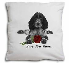 Cocker Spaniel+Rose 'Mum' Soft Velvet Feel Cushion Cover With , AD-SC13R2lym-CPW