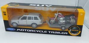 Ensemble à collectionner voiture Range Rover  tractant une moto Kawasaki  par We