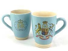 Rare: Set of 2 1953 Stoneware Lovatts England Queen Elizabeth II Coronation Mugs