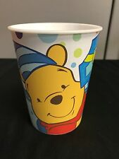 4 HEAVY DUTY PLASTIC Winnie the Pooh FIRST BIRTHDAY PARTY CUPS Blue - First
