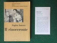 Eugene IONESCO - IL RINOCERONTE Teatro/20 Einaudi 1960 + SEGNALIBRO SCHEDA