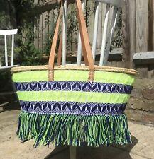 Large Straw Woven Shopper Basket Beach Bag 100% Leather Handles Boho Ikat Fringe