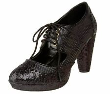 Pleaser Bordello Women's Grind-03 Oxford Black Glitter Size 7