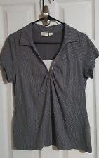 Cato gray polka dot L short sleeve vneck faux cami top