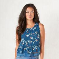 LC Lauren Conrad Womens Blue Sleeveless Crop Top Disneys Snow White Sz XS NWT