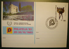 1983: Postkarte zur Philatelia Düsseldorf der Post Zypern m. MN 529 RARE!