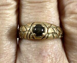 10K Yellow Gold .33 Carat Brown Star Sapphire Ring 4.8 Grams Size 10