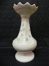 Vtg Irish Belleek Shamrock Pedestal Candle Holder Vase 3rd Green Mark Ireland