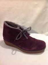 Clarks Purple Ankle Suede Boots Size 4F