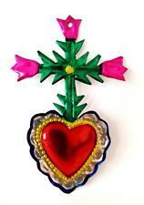 Authentic Mexican Tin Heart w/ Cross & Roses Milagro Handcut Tin Folk Art