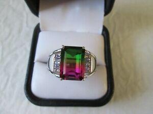Mens Watermelon Quartz and Tanzanite Sterling Silver Ring (Size 14) TGW 9.50 ct.