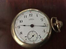 """ANTIQUE """"A.W. CO. WALTHAM"""" POCKET WATCH JEWEL SCROLLED ENGRAVED BACK c1880s"""