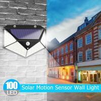 100LED Outdoor Solar Light Motion Sensor Wall Waterproof Garden Yard Flood Lamp
