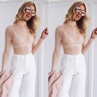 UK Women Sheer Mesh Long Sleeve Turtle Neck Blouse See-through Crop Top T Shirt