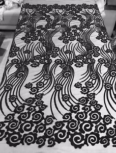 """Black Embroidery Sequins Lace Fabric 50"""" Width 1 Yard"""